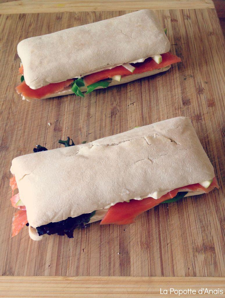 Sandwich Saumon Fumé Chèvre Pomme Verte
